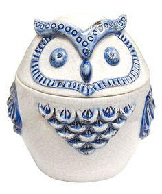 Blue & White Owl Covered Jar