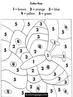 color by numbers ecoloringpagecom printable coloring pages kindergarten