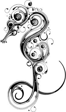 seahorse tattoo, if I were to have one, this would be it!