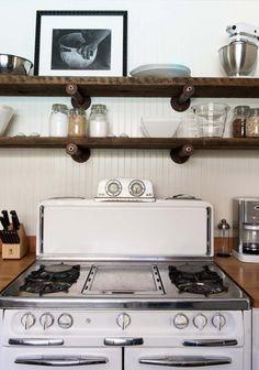 Sonoma, CA home designed by Antonia Martins, kitchen shelves