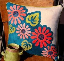 Pop Art Posies Wool Applique Throw Pillow-works by Wooly lady