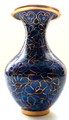 Chinese Cloisonne Miniature Vase Peacock Blue by Snowyowltreasures