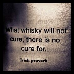 """Whisky Irish Proverb:  """"What whisky will not cure, there is no cure for.""""..so sad, so sad.."""