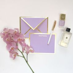 Keep encouraging because your words may be the only beacon of light in someone's darkness. - Flat lavender card with gold foil border - Includes lavender envelope with gold foil border - Includes ink