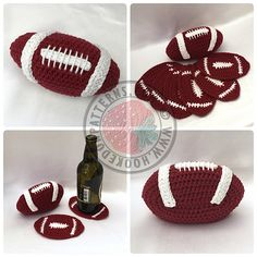 Crochet this fun American football coaster set, 6 shaped coasters in a neat football shaped holder. American Football, Alabama Football, Crafts To Sell, Diy Crafts, Crochet Football, Modern Placemats, Food Storage Boxes, Tsumtsum, Clothes Hooks