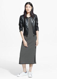 Stitched panel jacket -  Women | MANGO