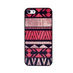 BlissfulCASE AZTEC GEO RED WOOD PRINT IPHONE 5/5S CASE featuring polyvore, fashion, accessories, tech accessories, phone cases and multi
