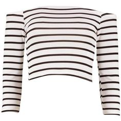 Boohoo Andrea Striped Off The Shoulder Rib Crop Top ($7) ❤ liked on Polyvore featuring tops, white off shoulder top, off-shoulder tops, off the shoulder tops, cami crop top and white crop top