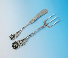 Vintage German .835 Silver Serving Fork & Butter Knife - Hildesheimer Rose