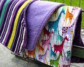 Minky Burp Cloths: Baby Girl Burp Cloth, Purple Burp Cloth Set, Baby Shower Gift, Pink Yellow Teal Orange Green White Magenta