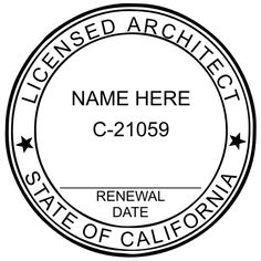 This is a sample #California #Architect #Seal without the Expiration/Renewal Date on the Seal. If you prefer not to write in your date, we also carry the version where the date is pre-printed.