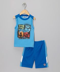 Take a look at this Blue I Rule Them All Tank & Shorts - Toddler & Boys by FILA on #zulily today!