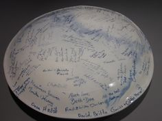 Wedding Platter signed by all guests at wedding reception.  Signatures permanent forever. $450.00 Place Settings, Platter, Wedding Reception, Clay, Colours, Mugs, Marriage Reception, Clays, Wedding Reception Ideas