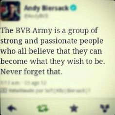 the bvb army is a group of strong and passionate people who all believe that they can become what they wish to be  never forget that
