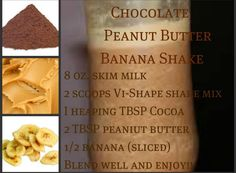 Chocolate Peanut Butter Banana Shake.  Join me on the 90 day challenge! ashleypartin.myvi.net