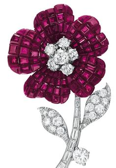 'Mystery-Set' Ruby and Diamond 'Pavot' Flower Brooch by Van Cleef & Arpels
