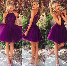 Short, #SherriHill homecoming dress. Purple, short dress with beaded top. Cute and flirty homecoming dress.
