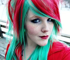 strawberry hair red and green... not 4 me but very cute