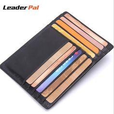 Genuine Leather Mini ID Card Holder Black Business Credit Card Holder Famous Brand Credit Card Organizer Men Wallets Women Purse #Affiliate