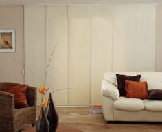 Here are a few ideas to replace vertical blinds for sliding patio doors. I'm thinking about making some sliding panels but will need to work out the hardware. I could use some suggestions from you clever Pinners out there :-) Sliding Panel Blinds, Sliding Door Window Treatments, Sliding Patio Doors, Window Panels, Sliding Glass Door, Glass Doors, Replace Vertical Blinds, Ikea Panel Curtains, Glass Door Coverings