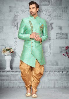 Woven Art Silk Jacquard Asymmetric Sherwani in Sea Green Sherwani For Men Wedding, Wedding Dresses Men Indian, Wedding Outfits For Groom, Sherwani Groom, Mens Sherwani, Wedding Dress Men, Punjabi Wedding, Indian Weddings, Wedding Couples