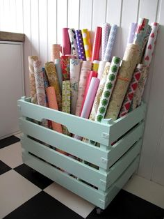 Wrapping paper storage--craft room when we finally buy a house Sewing Room Organization, Craft Room Storage, Storage Ideas, Craft Rooms, Organization Ideas, Fabric Storage, Wrapping Paper Organization, Vinyl Storage, Woodworking Organization