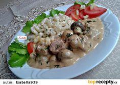 Morčací paprikáš so šampiňónmi a kôprom (fotorecept) Hungarian Recipes, Potato Salad, Menu, Potatoes, Chicken, Ethnic Recipes, Foods, Diet, Red Peppers