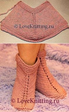 Free Knitting Pattern for Easy Desert Boots Slippe Lace Knitting, Knitting Stitches, Knitting Socks, Knitting Patterns Free, Crochet Patterns, Knit Slippers Free Pattern, Crochet Slipper Pattern, Crochet Shoes, Knitted Booties