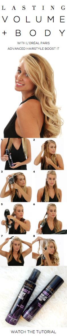 How to get lasting volume and body: Work an egg-sized amount of Boost It Volume Inject Mousse into damp hair. Blow dry hair to about 80% percent dry, then clip away and blow dry the rest of the way in sections. For enhanced curl, use a curling iron on ends. Spray roots with Boost It High Lift Creation Spray.