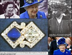 Historic Brooch.  The Queen began the Diamond Jubilee celebrations with a visit to the Epsom Derby. She wore this stunning brooch featuring a large square cut diamond and sugarloaf-cut sapphire set into scroll frame.