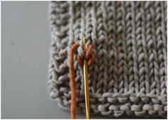 Duplicate stitch for knitted fabric. If you don't know how to do this, the tutorial here will help. This is a really important skill for all knittiers.
