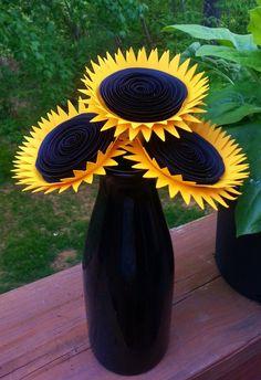 Paper Flower Bouquet - 3 Mammoth Yellow Sunflowers - Handmade Paper Flowers for Brides, Weddings, Showers, Birthdays