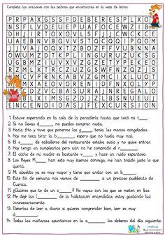 COMPLETA LAS FRASES CON LAS PALABRAS QUE ENCONTRARÁS EN LA SOPA DE LETRAS Spanish Worksheets, Spanish Teaching Resources, Spanish Activities, Spanish Language Learning, Brain Activities, Teaching Materials, Worksheets For Kids, Teaching Math, Bilingual Classroom
