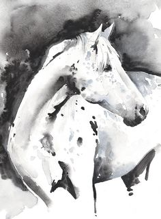 Print of Watercolour Painting Horse Painting by silverridgestudio