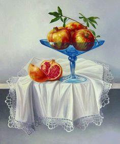 Realismo del bodegón artístico  Oleo sobre lienzo  Frutas realistas y coloridas de la serie bodegones exóticos