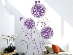 Createforlife Home Decoration Vinyl Wall Sticker Decals Mural Art Purple Butterflies and Blossoms ** Check out the image by visiting the link.