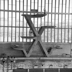 The diving boards at the National Recreation Centre, Crystal Palace,1964 [photograph: Henry Grant]