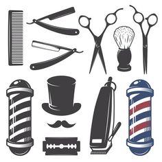 Illustration of Set of vintage barber shop elements. Monochrome linear style vector art, clipart and stock vectors. Barber Tattoo, Barber Logo, Logo Barbier, Barber Shop Decor, Barber Shop Pole, Vintage Logo, Vector Art, Design Elements, Old School