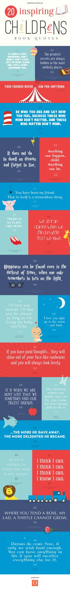 20 inspiring Childrens book quotes Perhaps, print each quote and pair with its book.  Shelf top display?