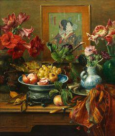 Kunichica met bloemen en vruchten, oil on panel by Cornellius le Mair, 2009