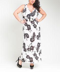 Look at this #zulilyfind! White & Black Floral Maxi Dress - Plus #zulilyfinds