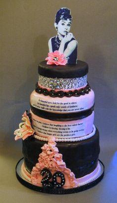 This is like my dream birthday cake! Pretty Cakes, Beautiful Cakes, Amazing Cakes, Fondant Cupcake Toppers, Cupcake Cakes, Cupcake Art, Baby Cakes, Audrey Hepburn Cake, Tiffany Cakes