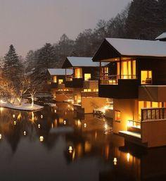 JAPAN - Hoshinoya Karuizawa Hotel & Spa. At the foot of Mount Asama, surrounded by dense forests of Japanese maple, running streams and hot springs.
