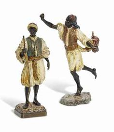 AUSTRIAN COLD-PAINTED BRONZE FIGURES OF ARAB HUNTSMEN CAST BY THE BERGMAN FOUNDRY OF VIENNA, CIRCA 1900