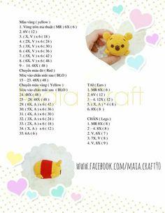 Winnie the Pooh Tsum Tsums - Free Amigurumi Pattern Chat Crochet, Crochet Chart, Diy Crochet, Crochet Doll Pattern, Crochet Patterns Amigurumi, Crochet Dolls, Tsumtsum, Crochet Animals, Disney Pixar