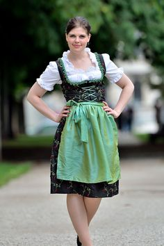 A woman wearing a dirndl