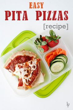 Easy Pita Pizzas [recipe]. Super easy to assemble and perfect for the next day's office or school lunch. Packed in @easylunchboxes