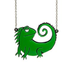 Katie Abey Indifferent Iguana Necklace / in stock Laser Cut Jewelry, Laser Cut Acrylic, Animal Fashion, Alternative Outfits, Name Necklace, Statement Jewelry, Laser Cutting, Collaboration, Africa