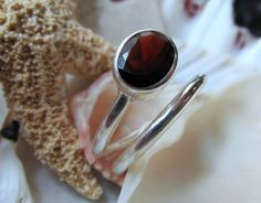Red Garnet Ring Sterling Silver Spiral Ring 2 by EverythingIOwn, $49.95