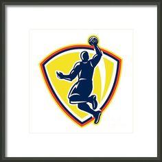 Basketballer Dunking Rebounding Ball Retro Framed Print By Aloysius Patrimonio